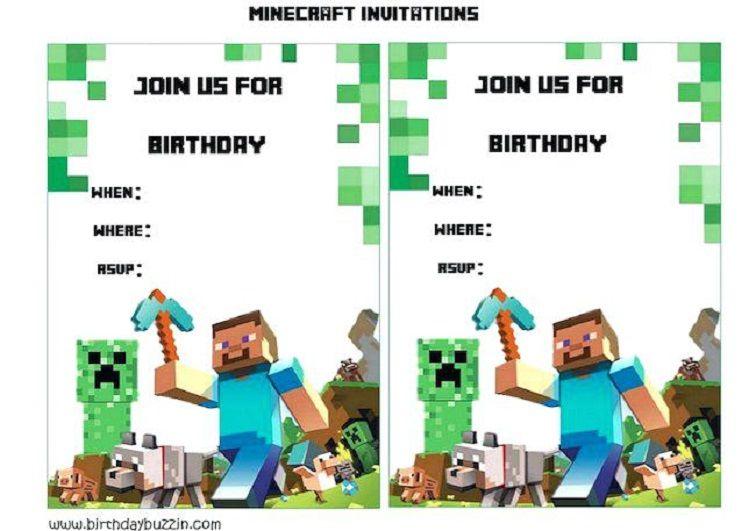 Minecraft Birthday Invitations Template Birthday Party Ideas In
