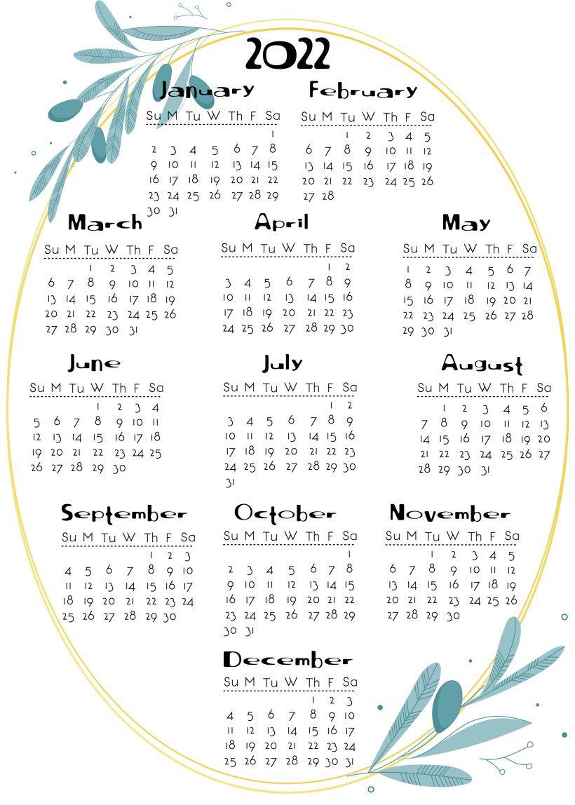 2020 to 2022 calendar Onesheets | Calendar printables ...