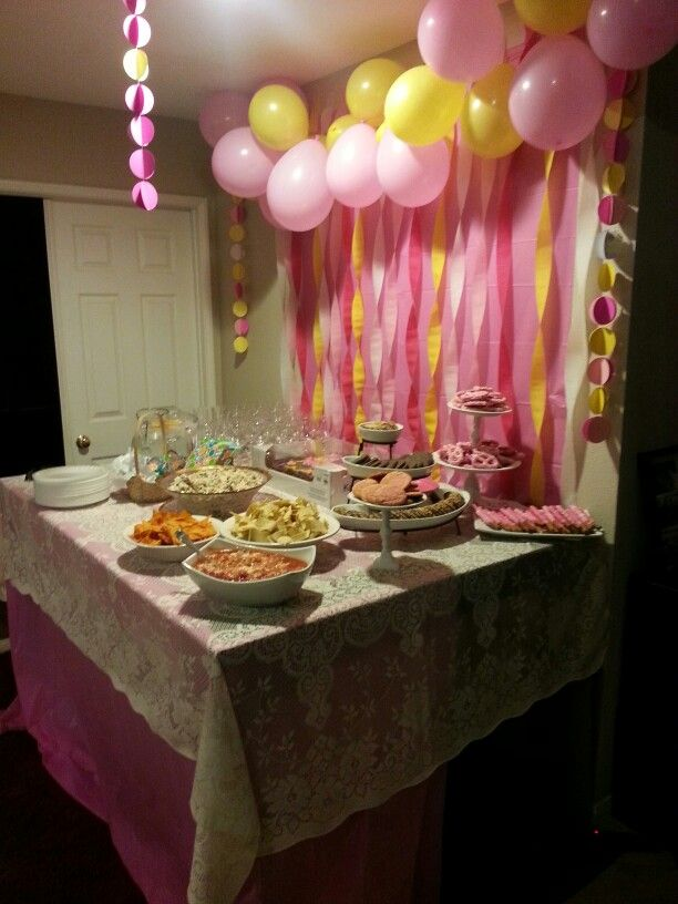 Baby Shower Yellow And Pink ~ Pink and yellow baby shower decorations with lace back