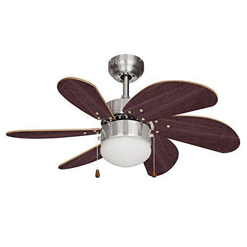 Minisun Chrome Argente Et Effet Noyer 76 Cm Ventilateur De Plafond Moderne 6 Pales Lampe Integre Avec Abat Jour En Verre Plafond Moderne Ventilateur Plafond