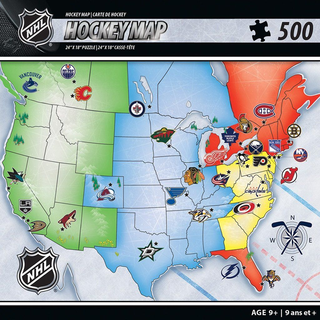 Nhl Hockey Map 500 Piece Jigsaw Puzzle Map Puzzle Nhl Team Sports Gifts