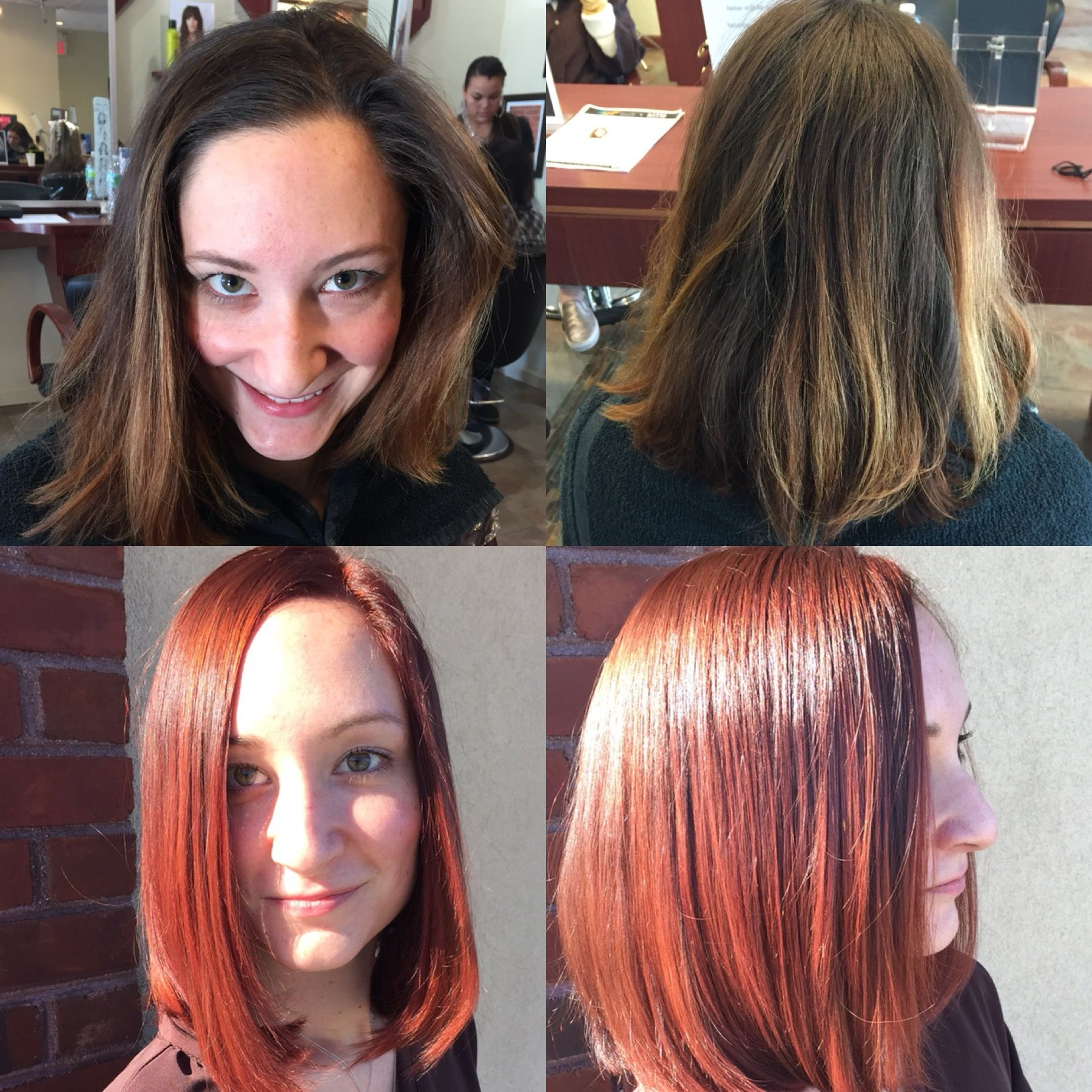 Transformation From Mousy Brown To Bold Red Mousy Brown Red Brown Hair Hair Color