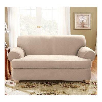 Best Taupe Stretch Suede T Loveseat Slipcover Sure Fit Brown 400 x 300