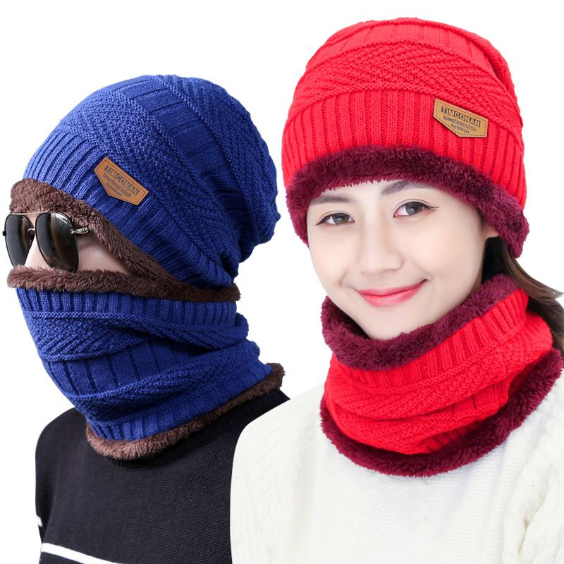 779eb0f4ddd Unisex Beanies Ski Set Winter Outdoor Thick Knit hat shawl Neck warmer  Collar Lic Men Women