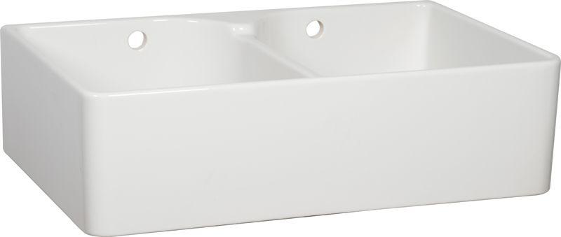 White Ceramic Double Bowl Kitchen Sink: Neptune Ceramic Double Bowl Sink