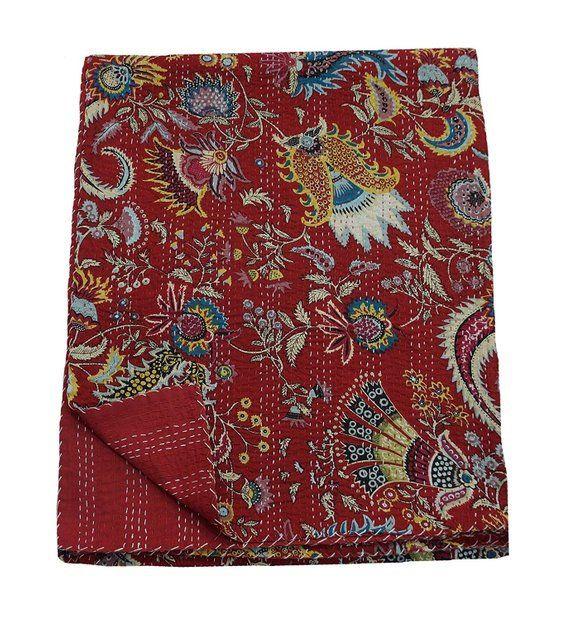 King Size Maroon Crown Print Bedspread Handmade Co