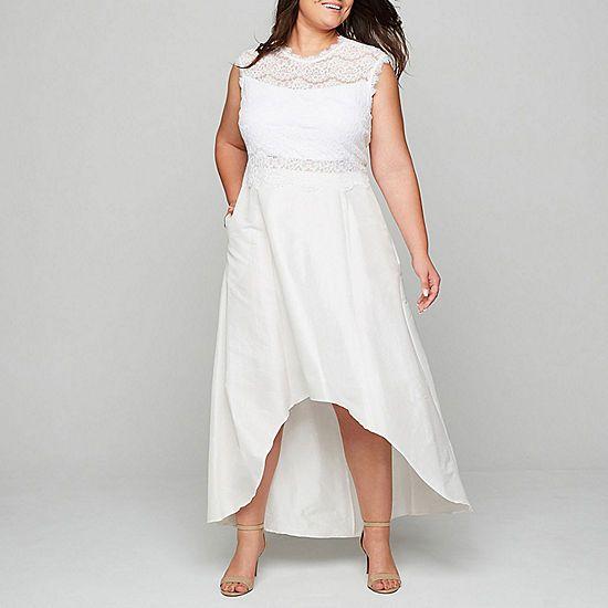 Blu Sage Lace 2-Piece High-Low Dress - Plus