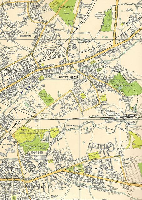 Street plan map of east Manchester Bradford Clayton Newton