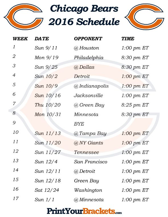 graphic about Printable Bears Schedule identified as Printable Chicago Bears Plan - 2016 Soccer Period