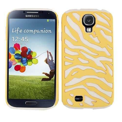 Unlimited Cellular Novelty Case for Samsung Galaxy S4 (Yellow Zebra on White)