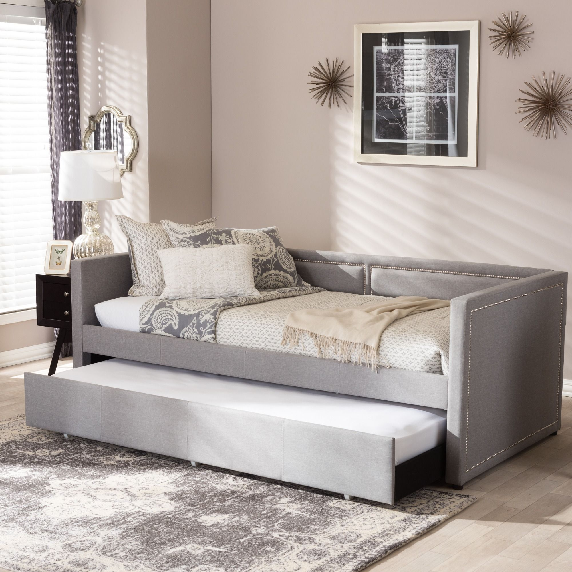 Baxton Studio Sofia Modern Contemporary Beige Or Grey Fabric Nailheads  Trimmed Sofa Twin Daybed With Roll