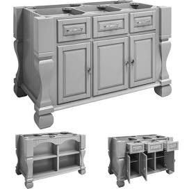 Jeffrey Alexander Tuscan Kitchen Island Base Only Grey 52 5 8 In W X 32 3 D 35 1 4 H