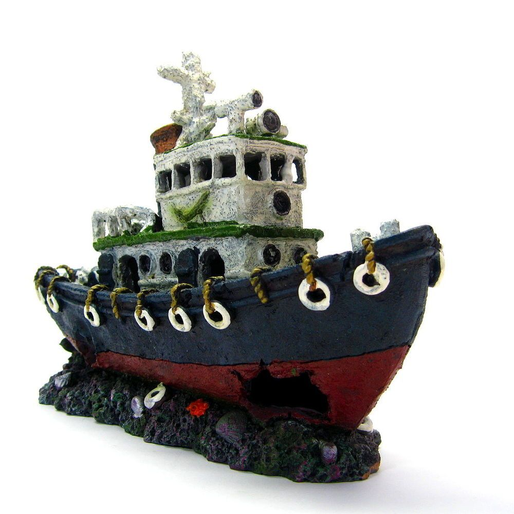 Fish tank decorations zombie - Fishing Boat 28cm Ancient Ship Aquarium Ornament Decoration Shipwreck Fish Tank