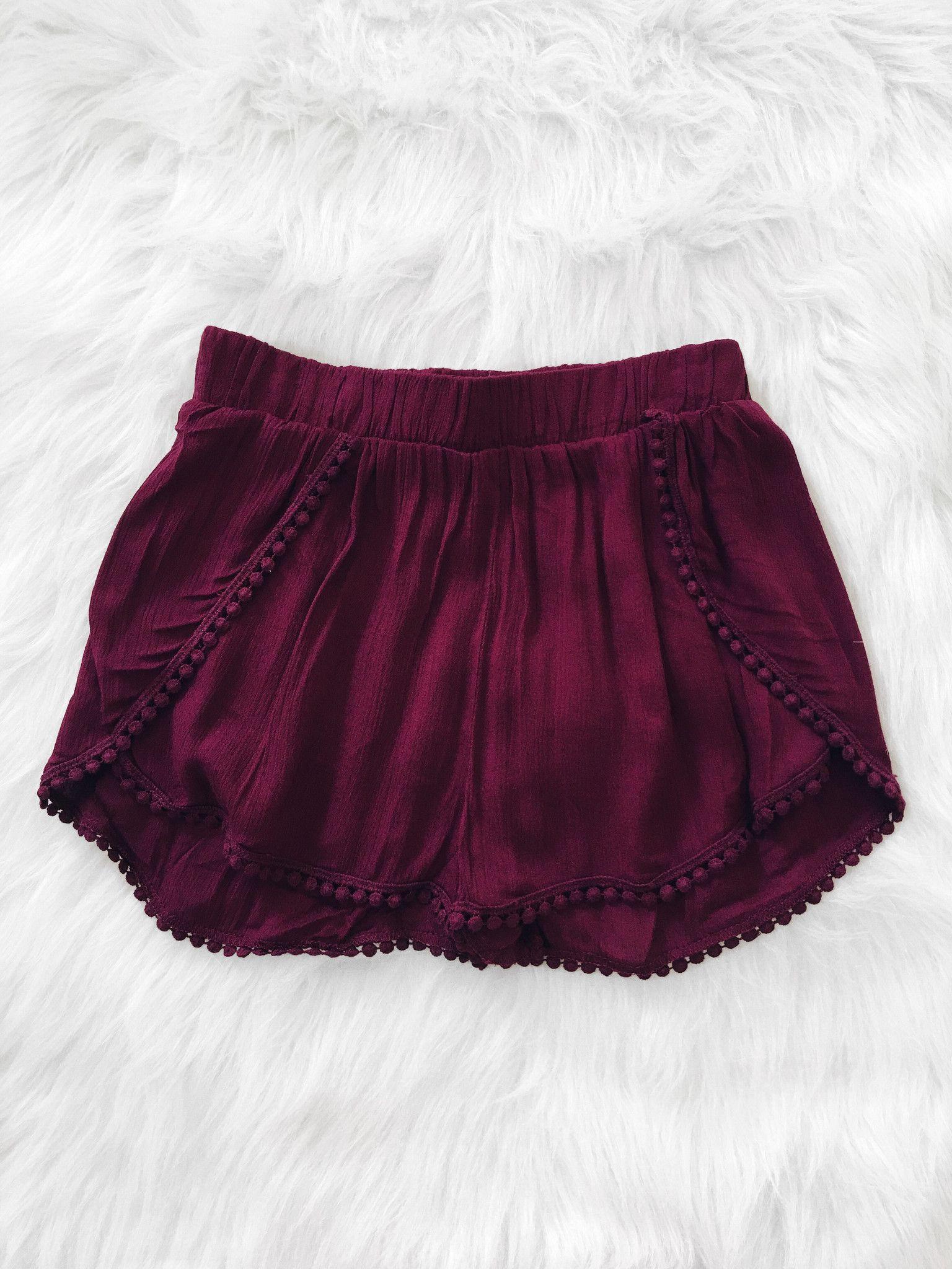 Pom Pom Hem Shorts (Burgundy) …   Pinteres…