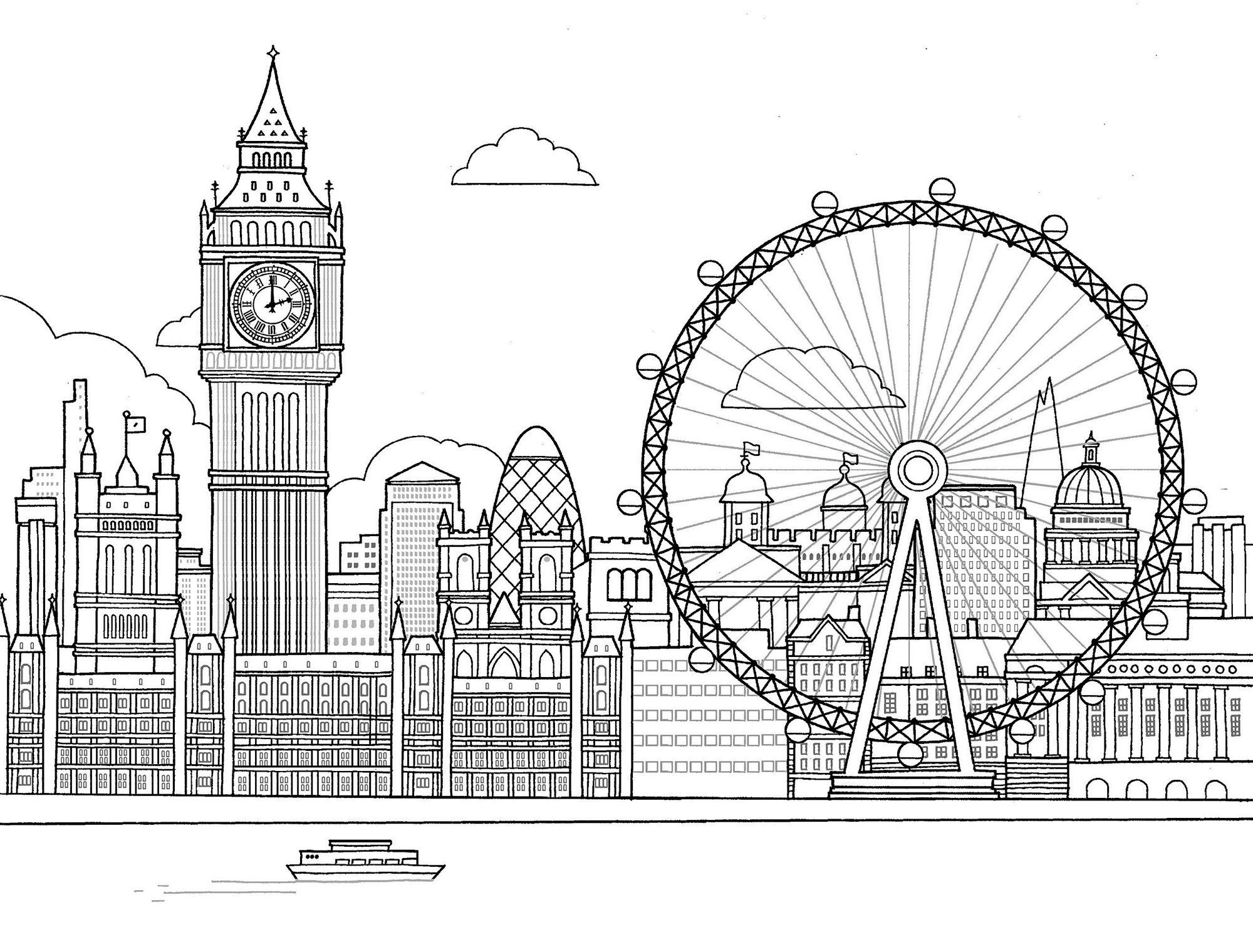 The London Eye Coloring Page In