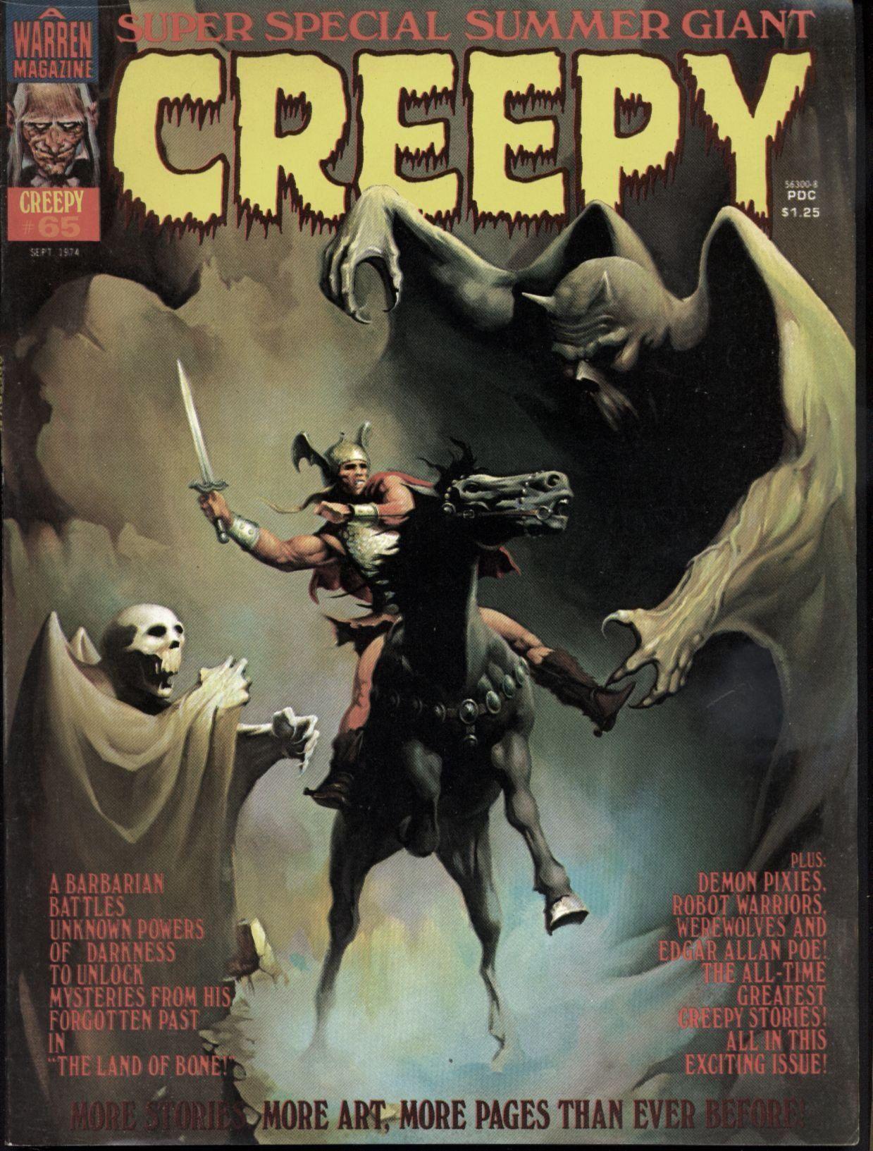 Creepy 65 1974 Annual Warren Horror Magazine Jose Bea Brocal Reed Crandall Jorge Galves Luis Garcia Esteban Maroto Felix Mas Ramon Torrents Creepy Comics Creepy Pulp Fiction Book