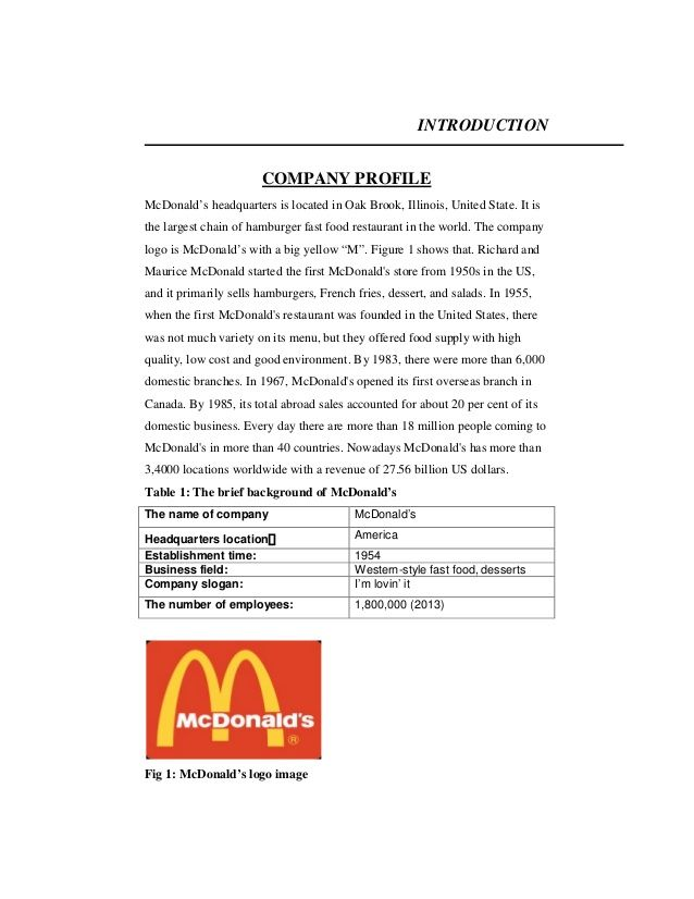 Image result for company profile for a restaurant Company - company profile format sample