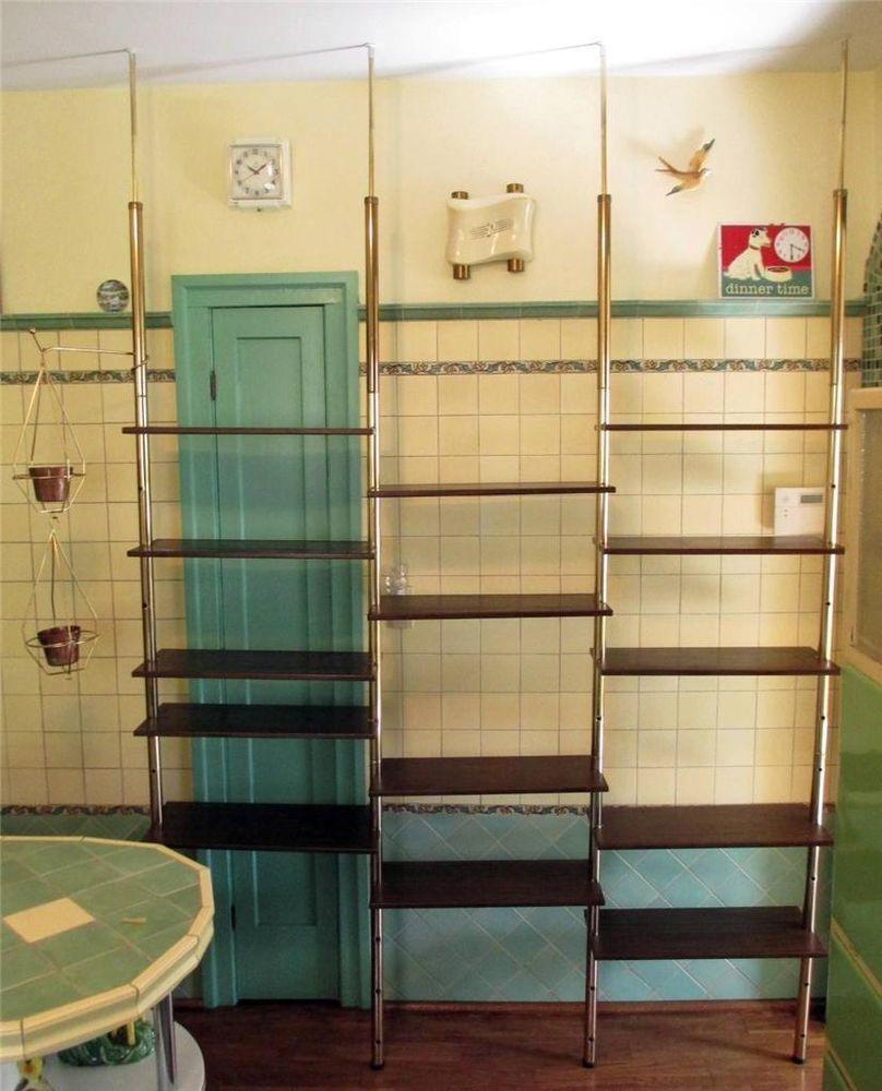 Vintage Tension Pole Shelving Unit Room Divider Shelves