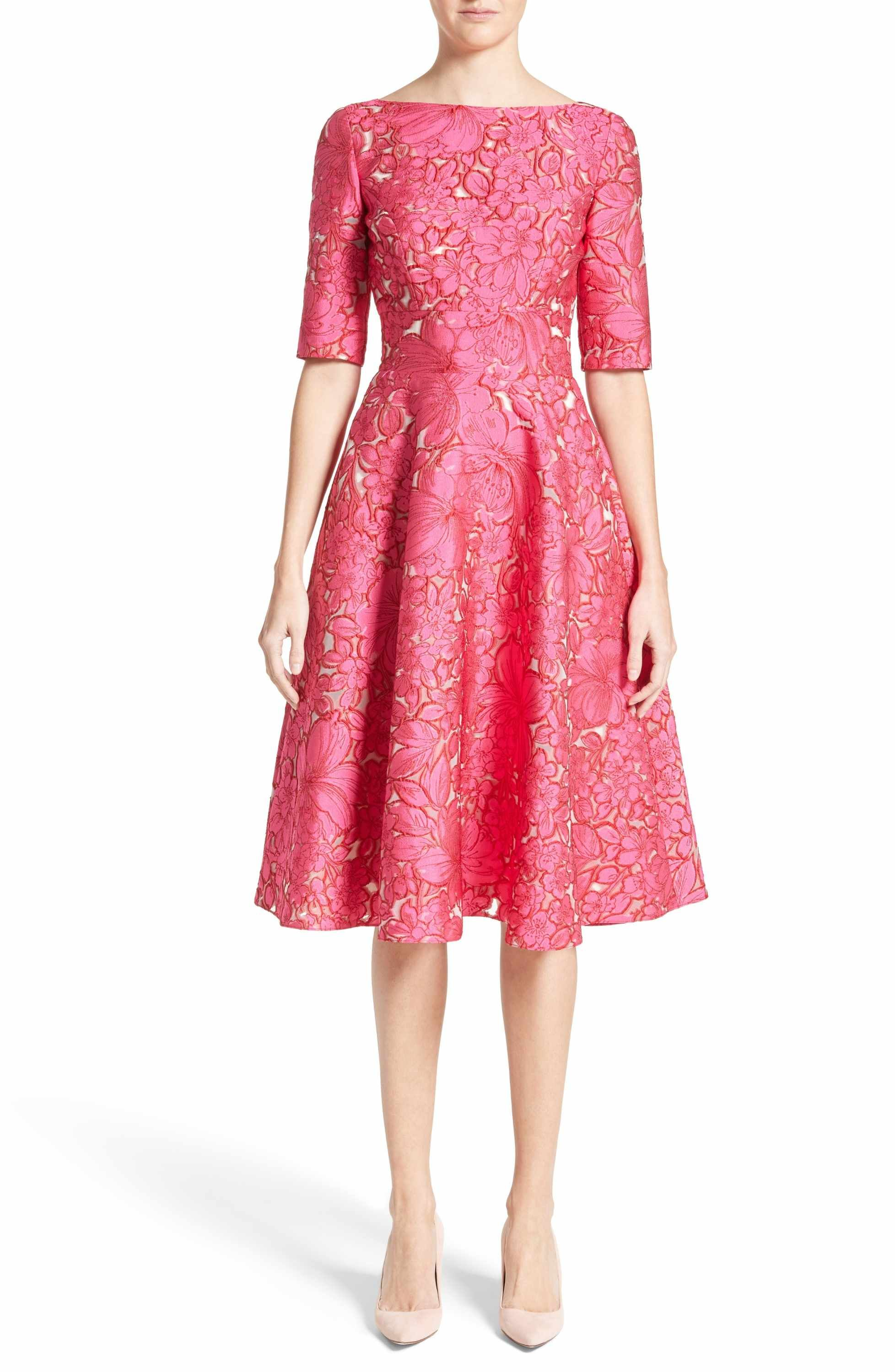 f83507e140 Main Image - Lela Rose Floral Fil Coupé Fit   Flare Dress
