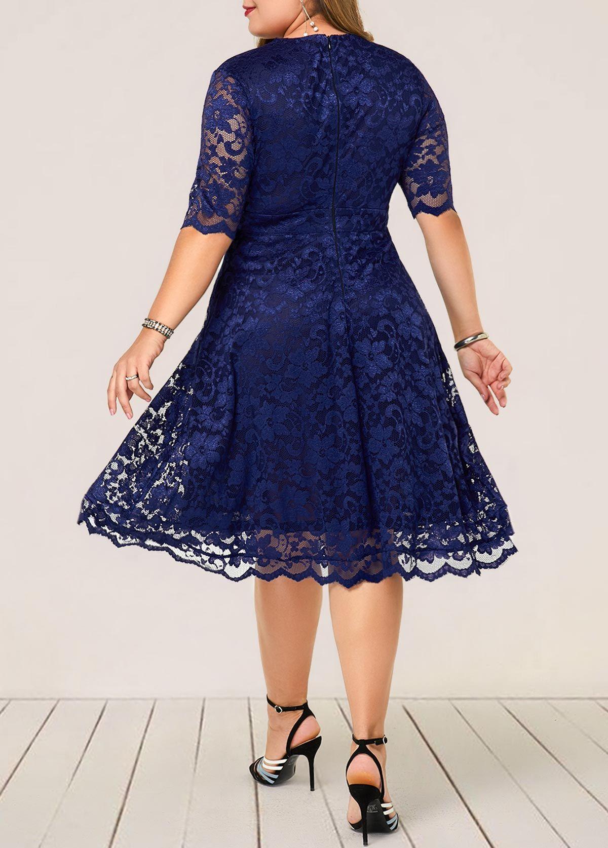 32+ Plus size navy lace dress info