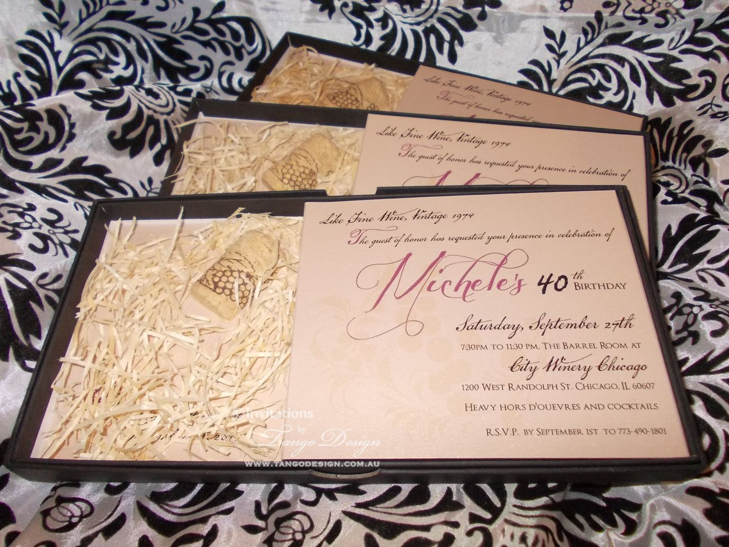 40th Birthday Invitations Custom Made With Cork For A Vineyard Or Winery Themed Party 40thbirthdayinvitations Corkinvitations Wineryinvitation