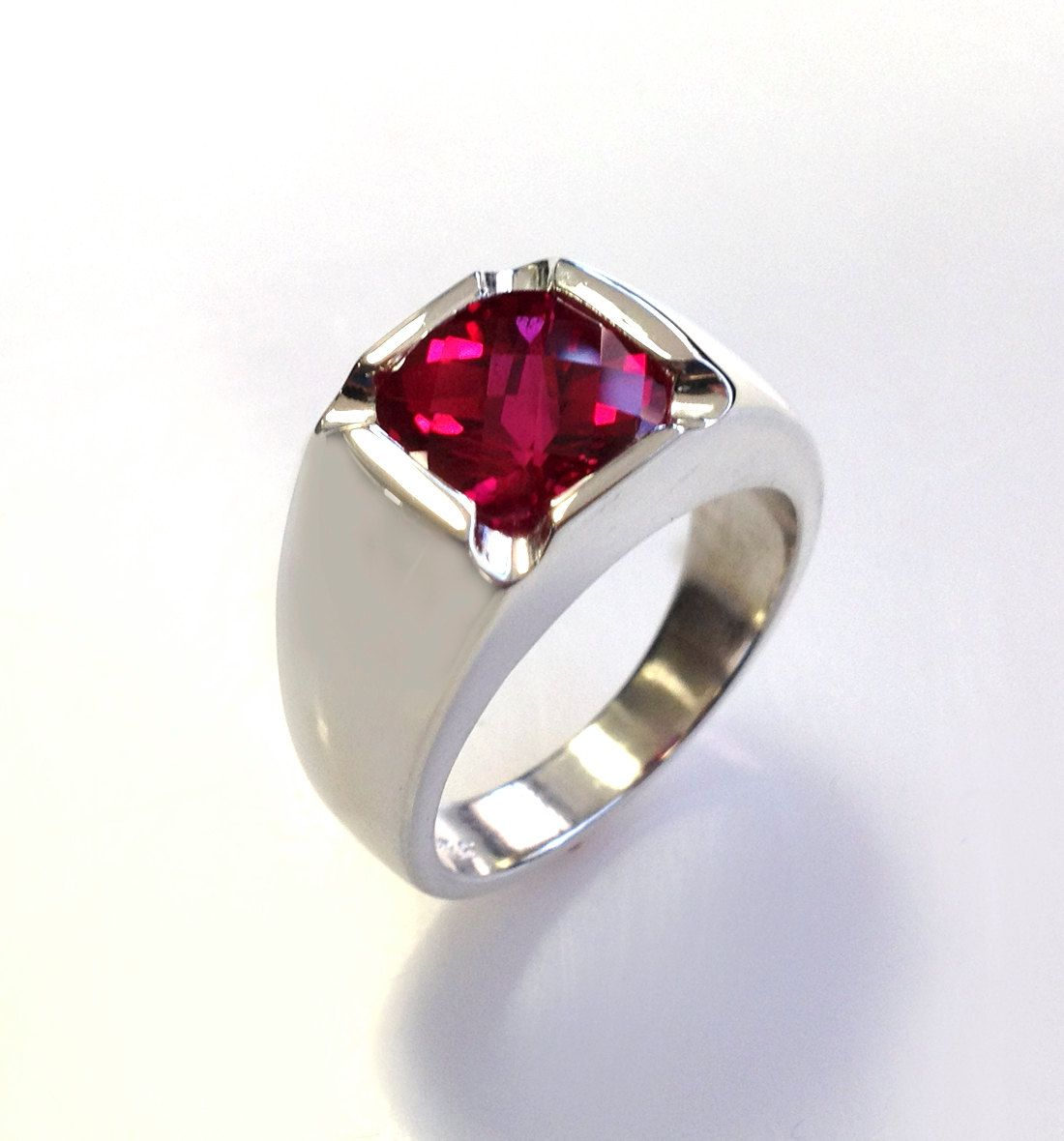 Mens Stunning Antique Cushion Checkerboard Cut Ruby Ring in Solid