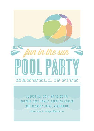 birthday party invitations - Beach Ball Pool Party by Erin Deegan - fresh invitation card of birthday