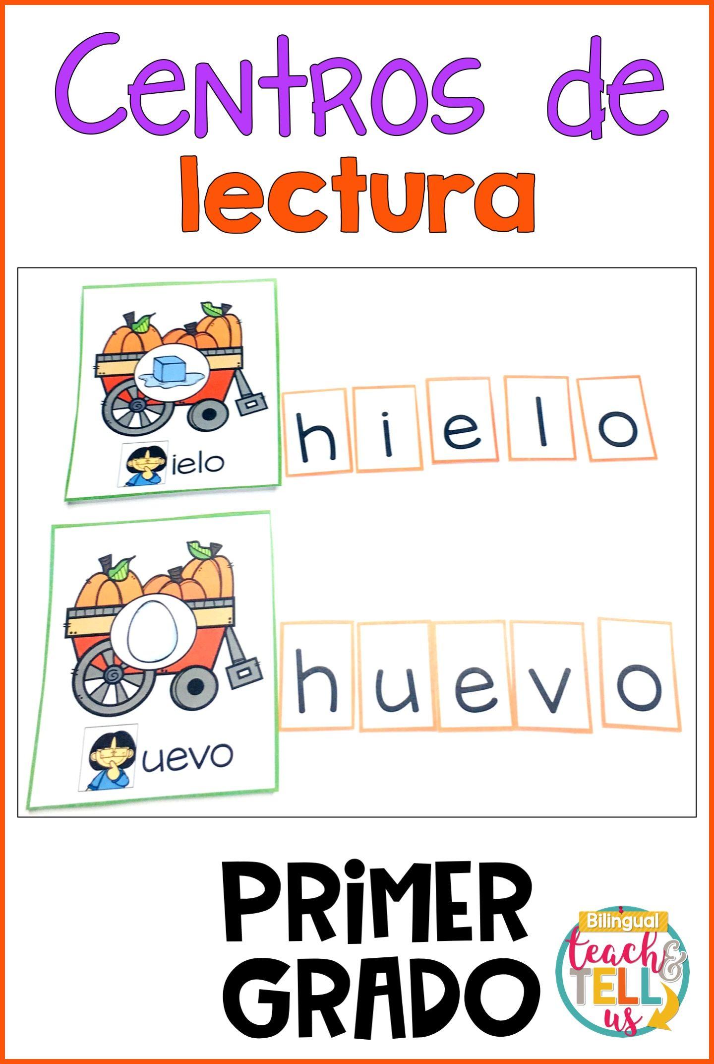 First Grade Literacy Centers Spanish October Centros De
