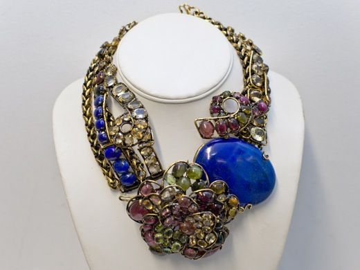 Iradj Moini Necklace - tourmaline lapis citrine and peridot stones, Center flower becomes a pin