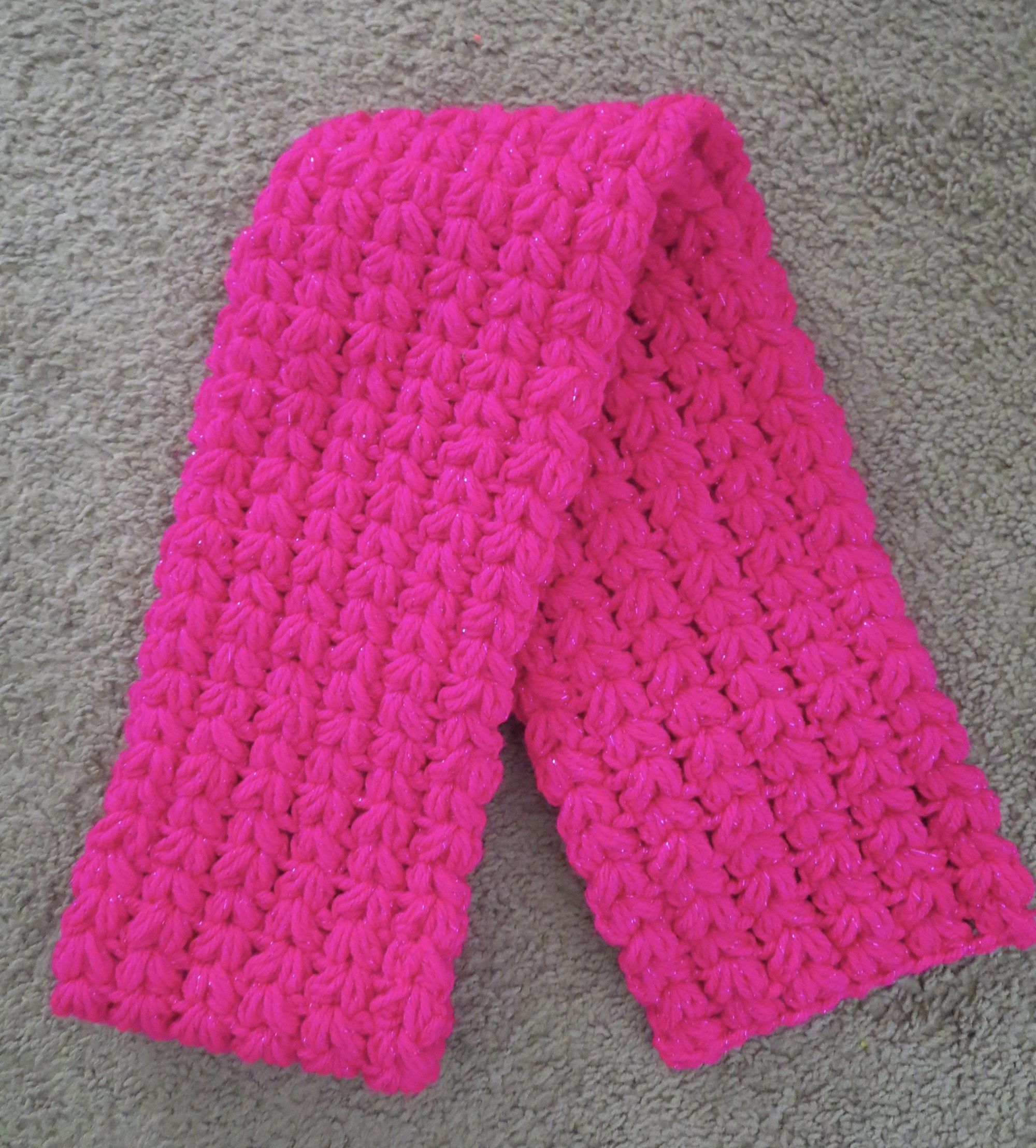 Crochet Puff Scarf Materials: – Any medium worsted yarn. I used Red ...