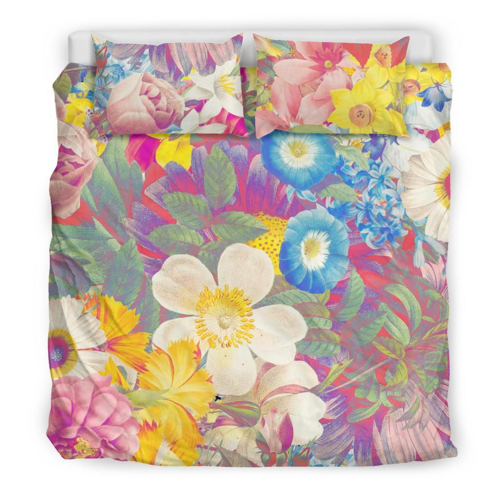 Colorful Vintage Flowers Vol. 1 Comfy Cozy Duvet And 2 Pillow Cases, Bedroom Decor, Twin, Full, Queen, King - AU King