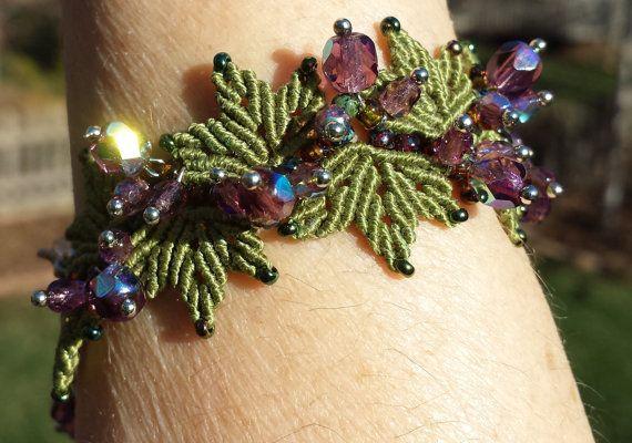 Grape Vines Beaded Micro Macrame Bracelet by PicotsnPosies on Etsy