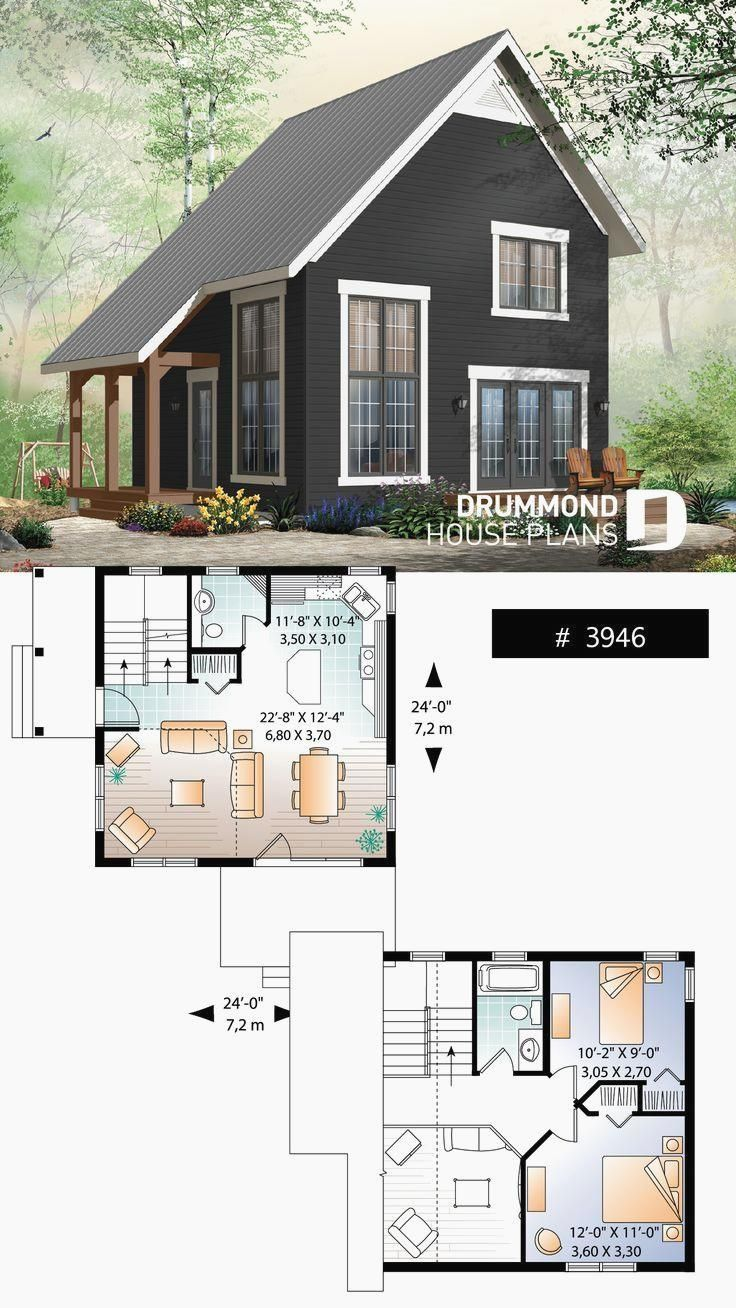 2 bedroom transitional style cottage design, with