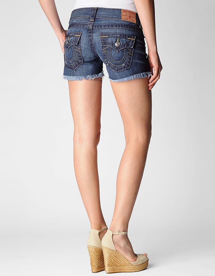 904a831ed7 True Religion Brand Jeans, Keira Womens Denim Short, b4 rambler med, Womens  : Shorts, WB84K18E4B4