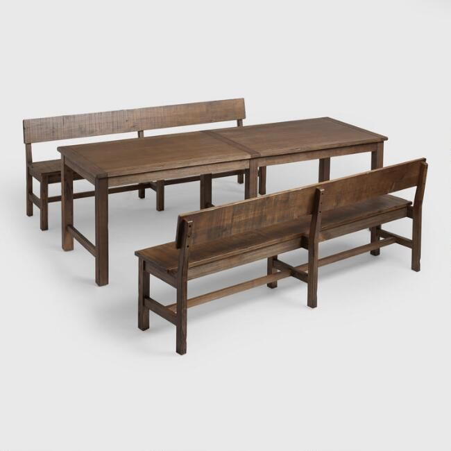 Merveilleux Distressed Brown Wood Gulianna Extra Long Dining Bench   V6