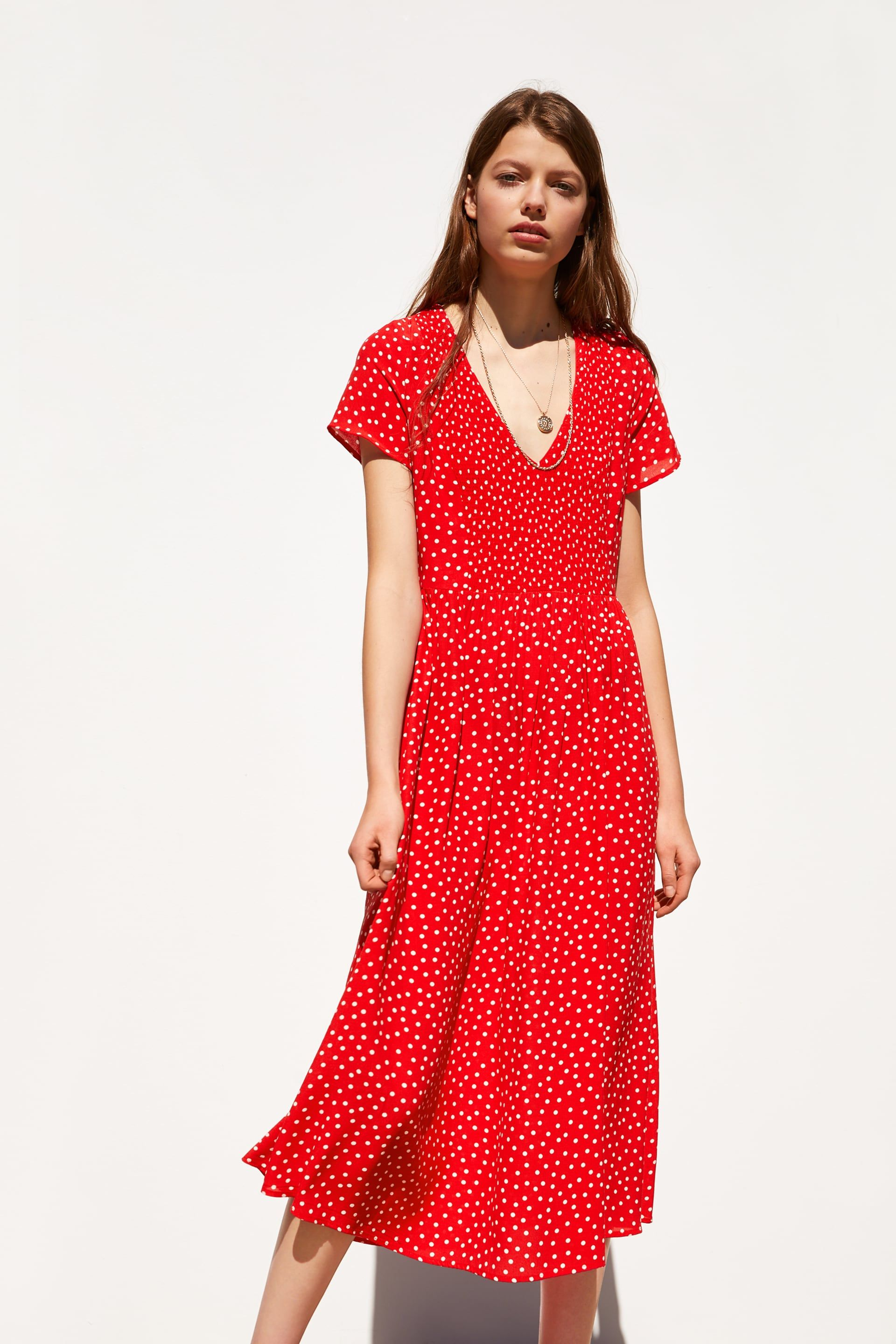Linen red midi dress in a rustic style for a girl.