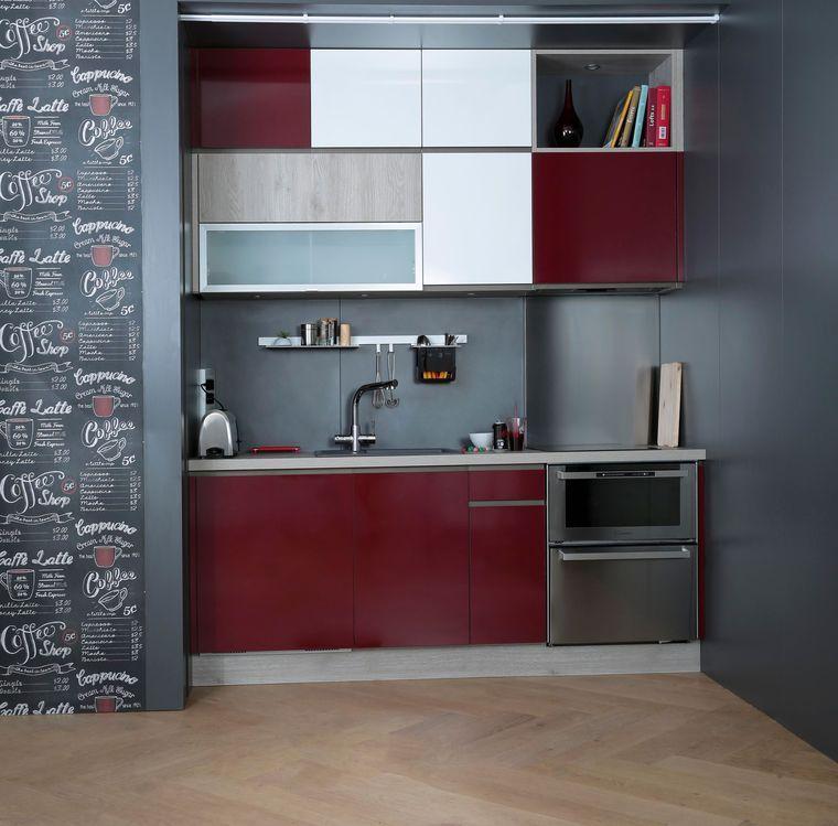 12 modèles de petite cuisine Cocina y Comedor Pinterest House - Plan De Travail Cuisine Rouge