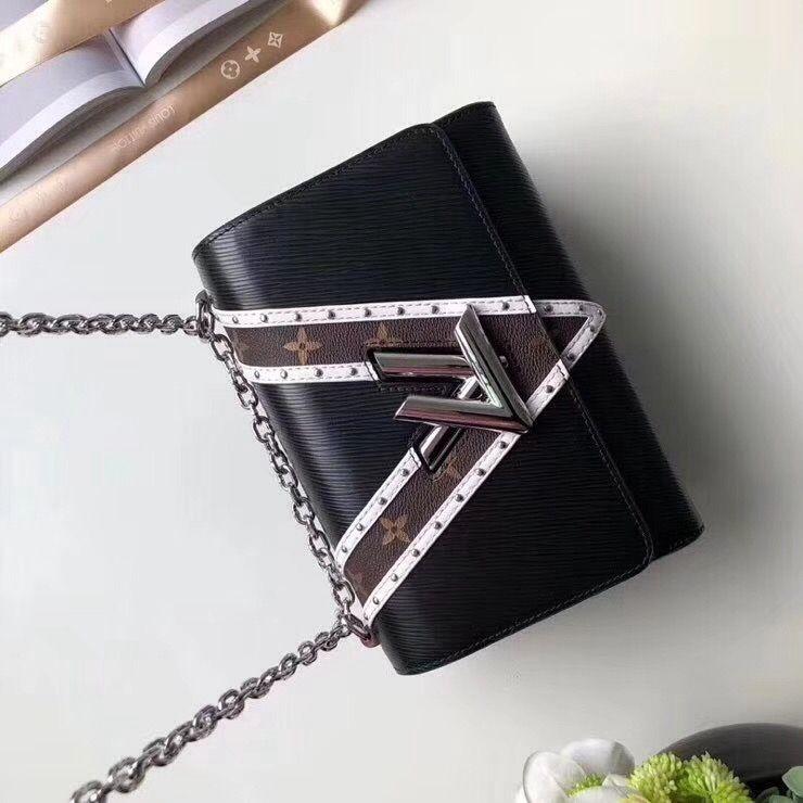 1be0314e16f1 Louis Vuitton Epi Leather Monogram Canvas Stud Twist MM Bag Black 2018