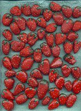 Paint rocks to look like strawberries.  Place around strawberry beds early in the season.  By the time your real berries ripen, birds will think they're stones and leave them alone.