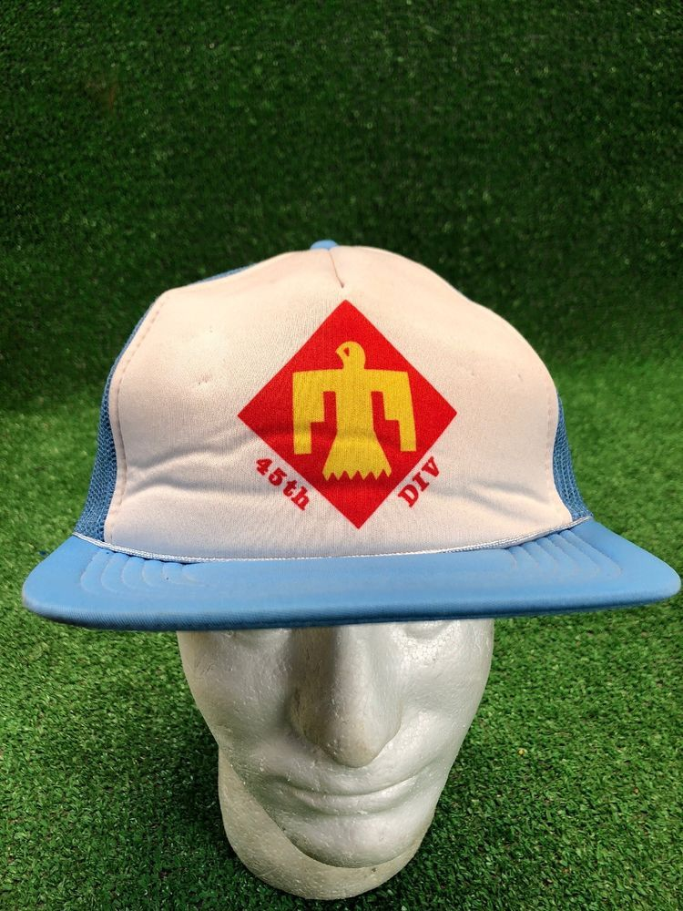 cfcac33315a Vintage 45th Division Blue Trucker SnapBack Hat Cap Tomahawk Bird Fast  Shipping  fashion  clothing