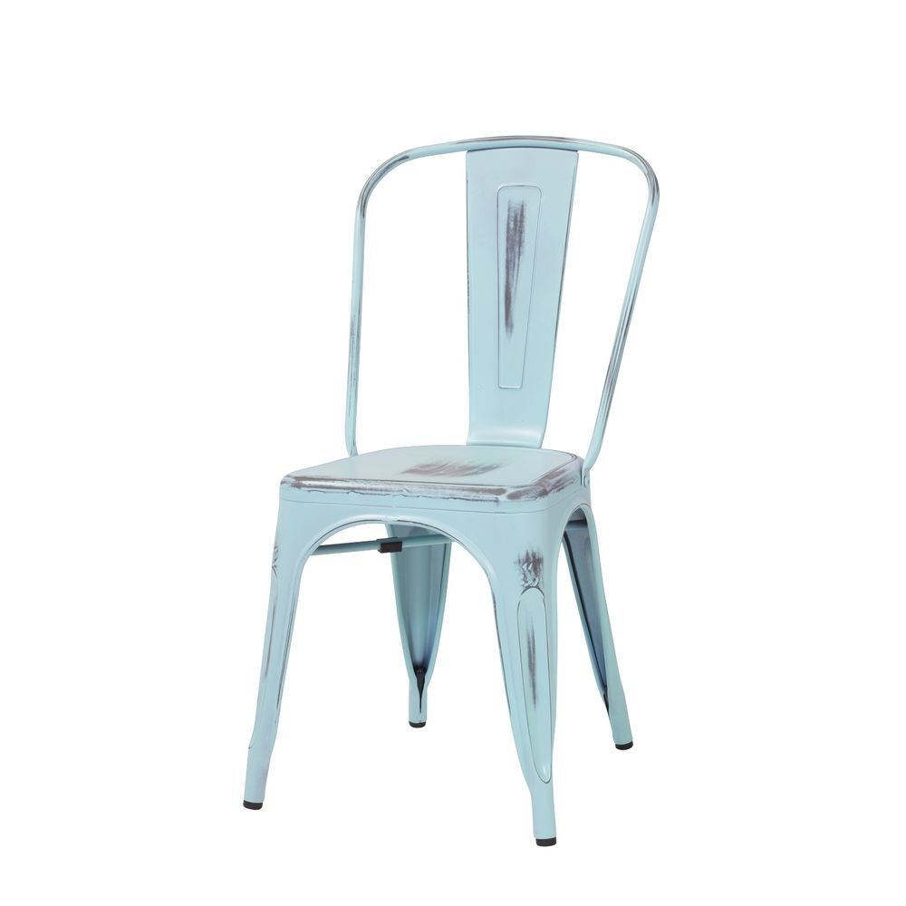 Tolix-Style Marais Cafe/Bistro Chair in Distressed Light Blue
