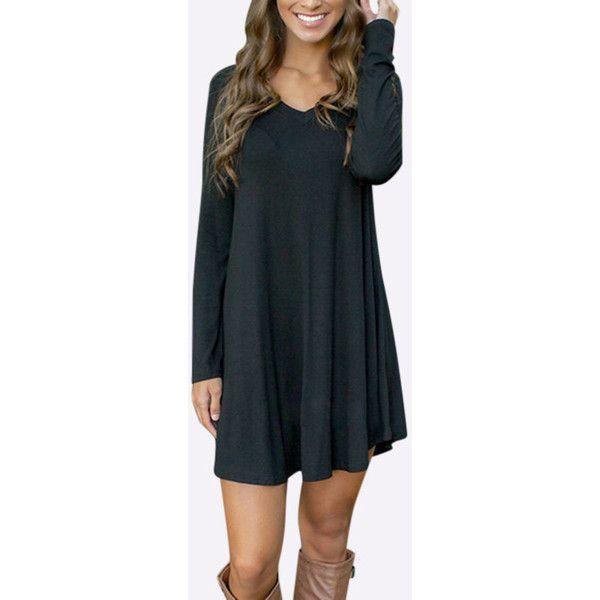 8c6599e357 Yoins Black Simple V-neck Mini Dress (61 PEN) ❤ liked on Polyvore ...