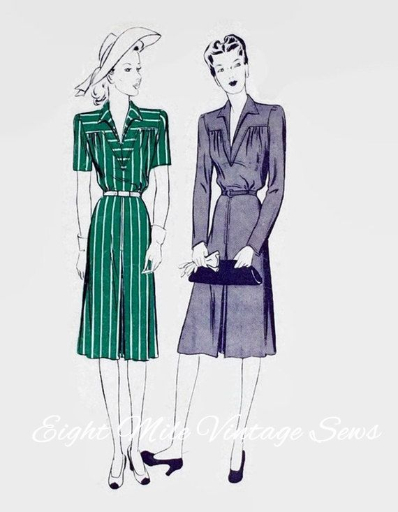 Vintage 1940s Sewing Pattern - Butterick 2485 Sewing Pattern - One-piece Tailored Dress - Size 14 - Bust 32 - Yoke Front - 1940s Dress by EightMileVintageSews on Etsy