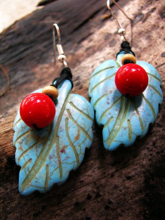 Boho  Chic Turquoise Gemstone Leaf Glass and by TheHempButterfly, $10.00