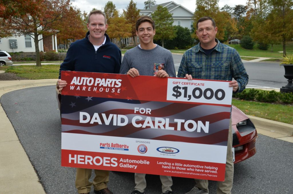 As part of AutoPartWarehouse.com's Heroes Automobile Gallery Veterans Day celebration, we helped Purple Heart and Bronze Star with Valor recipient SFC David Carlton surprise his17-year old son with a totally reconditioned 1996 Chevrolet Camaro!  Learn more about how you can get a 20%* discount through the Heroes Automobile Gallery here: http://www.autopartswarehouse.com/heroes