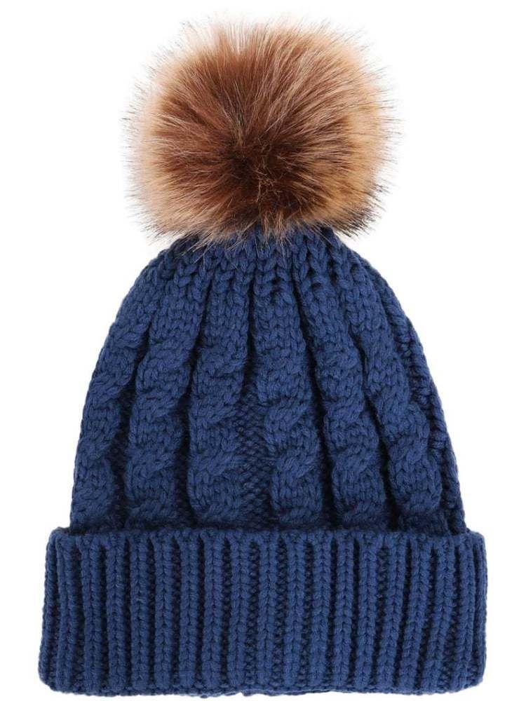8c68a3273 Women's Winter Soft Knitted Beanie Hat with Faux Fur Pom Pom,Denim ...