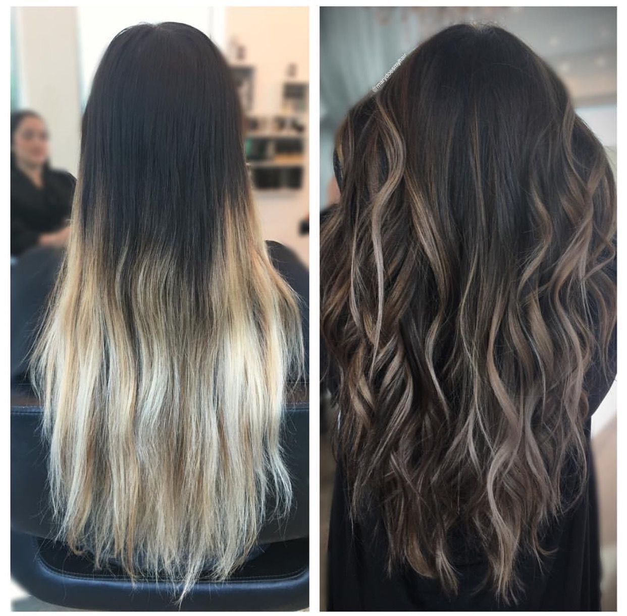 hair transformation dark to light brown balayage ombre