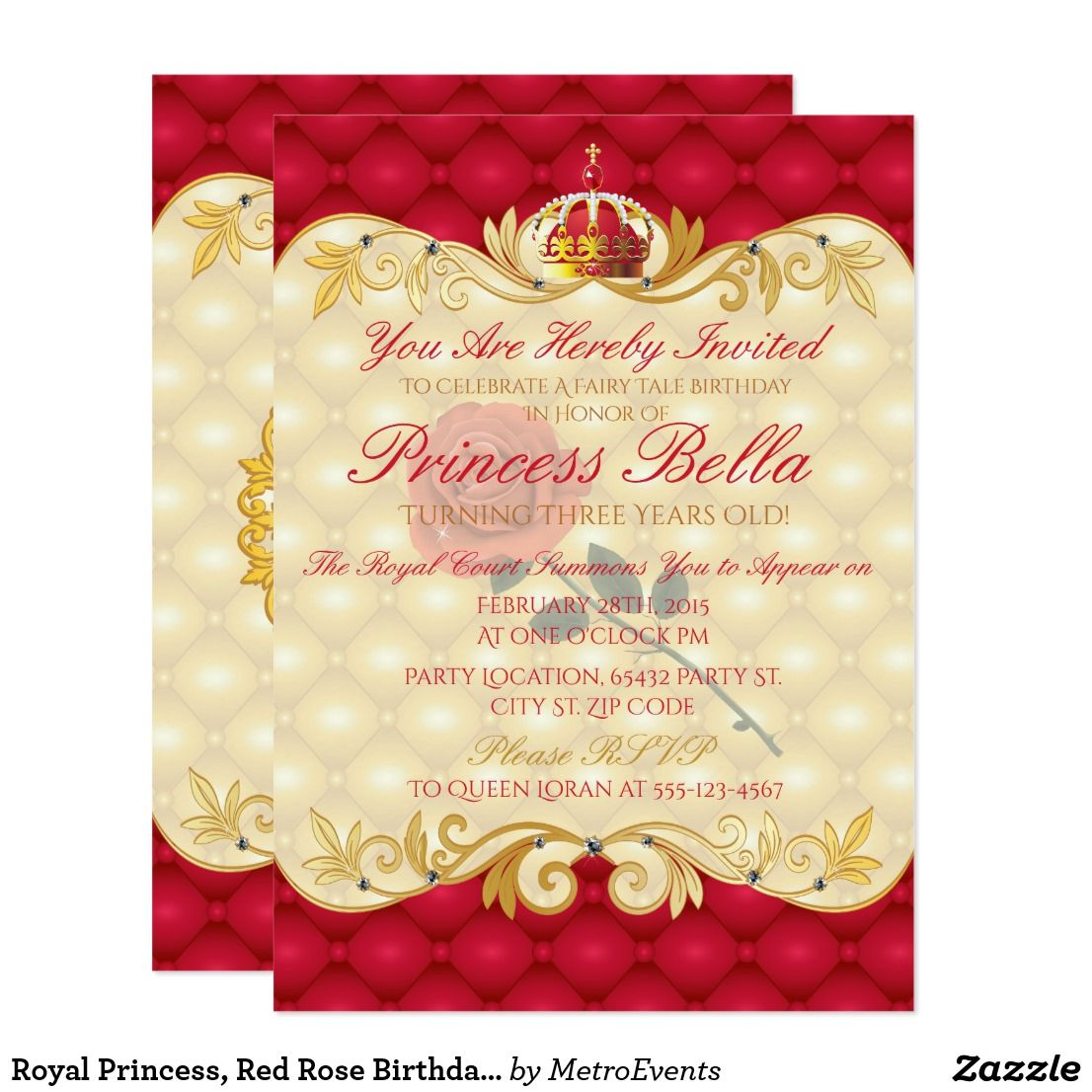 Royal princess red rose birthday invitations royal princess enchanting royal rose birthday invitations metro events mermaid and pirates party supplies are available through our websites at metro event and filmwisefo