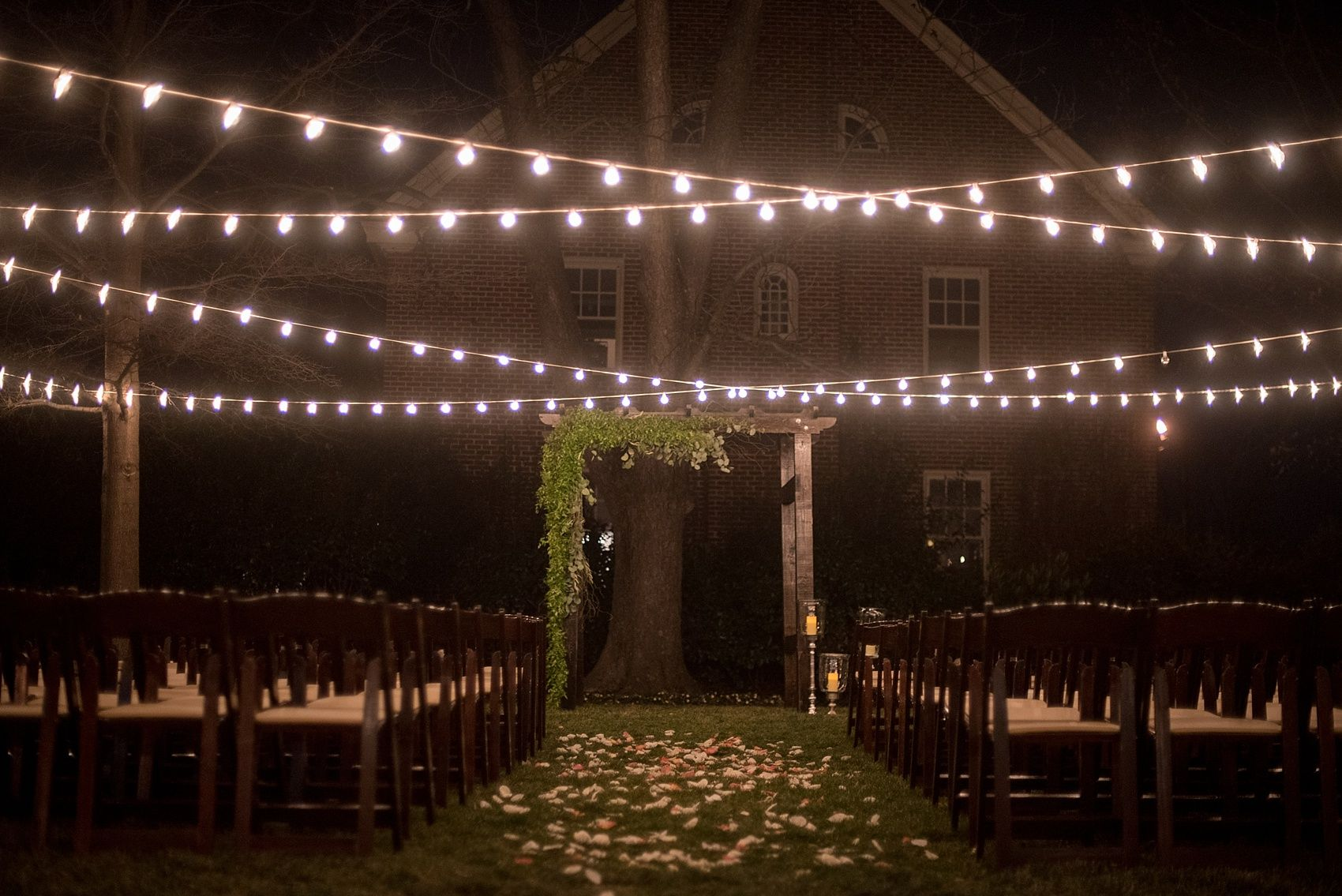 outdoor twinkle lights for a night time ceremony raleigh north