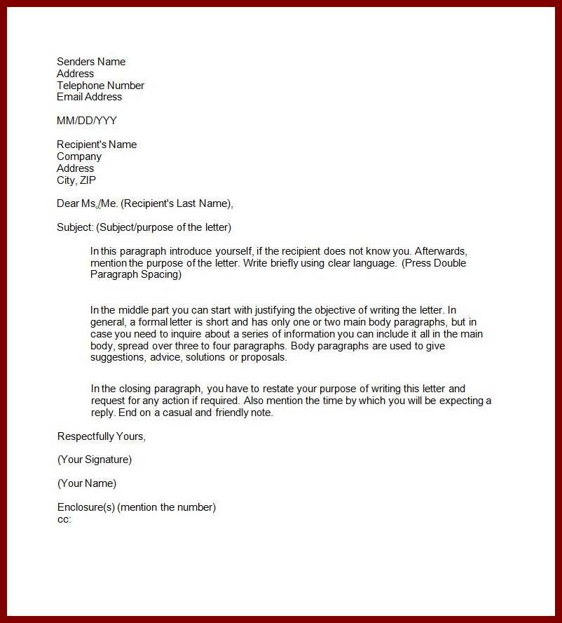 Example Semi Block Style Application Letter Business Format